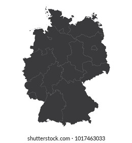 Germany map on white background vector, Germany Map Outline Shape Black on White Vector Illustration, High detailed black illustration map -Germany.