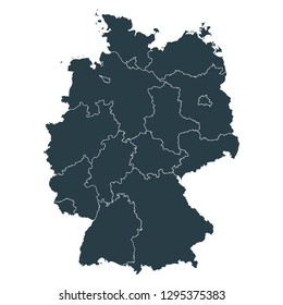 Germany map on White background vector, Germany Map Outline Shape Gray on White Vector Illustration, High detailed Gray illustration map Germany.
