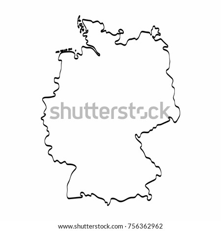 Map Of Germany Outline.Germany Map Outline Graphic Freehand Drawing Stock Vector Royalty