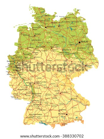 Germany Map Of Cities.Germany Map Relief Cities Lakes Rivers Stock Vector Royalty Free
