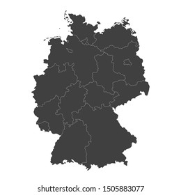 Germany map with selected regions in black color on a white background