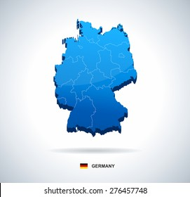 Germany map - three-dimensional vector illustration