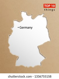 Germany map vector. German maps craft paper texture. Empty template information creative design element.