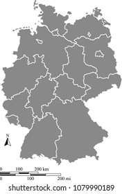 Germany map vector outline with scales of miles and kilometers and borders of provinces in gray background. German map with mileage and kilometer scales