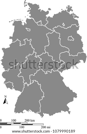 Germany On A Map Of The World.Germany Map Vector Outline Scales Miles Stock Vector Royalty Free
