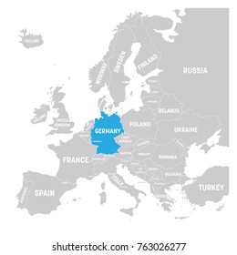 Germany marked by blue in grey political map of Europe. Vector illustration.