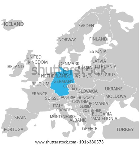 Germany Marked By Blue Grey Political Stock Vector (Royalty Free ...