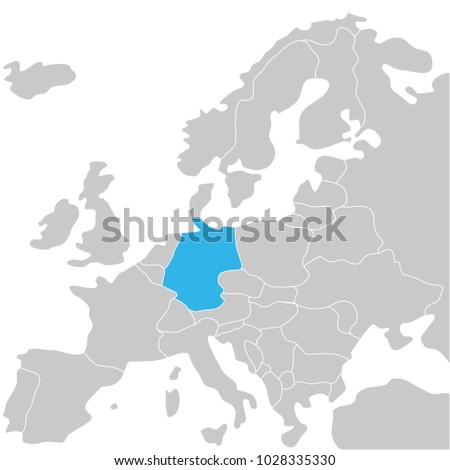 Germany Marked By Blue Grey Political Stock Vector Royalty Free