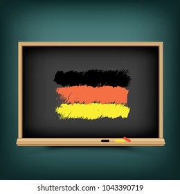 Germany national flag draw on school education blackboard. Great 8 country German standard banner backdrop. Learn language lesson
