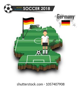 Germany national soccer team . Football player and flag on 3d design country map . isolated background . Vector for international world championship tournament 2018 concept .