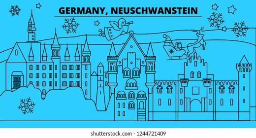 Germany, Neuschwanstein winter holidays skyline. Merry Christmas, Happy New Year decorated banner with Santa Claus.Germany, Neuschwanstein linear christmas city vector flat illustration