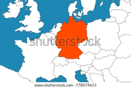 Germany On The Map Germany On Map Europe Stock Vector (Royalty Free) 778074655  Germany On The Map