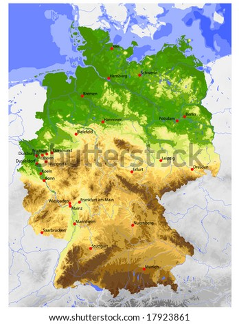 Germany Physical Vector Map Colored According Stock Vector Royalty