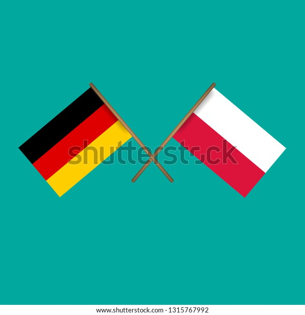 Germany Poland Crossed Flagslanguage Learning Travel Stock