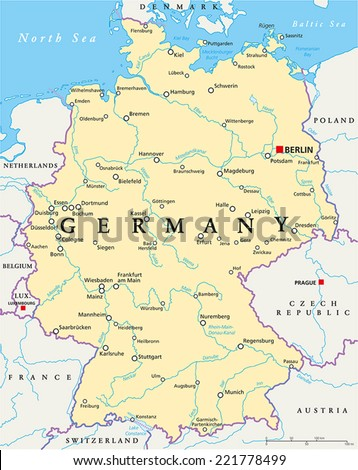 Germany Political Map Capital Berlin National Stock Vector Royalty