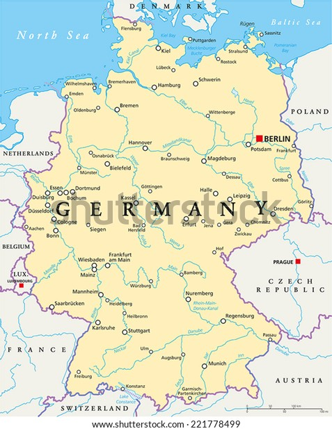 Fiumi Germania Cartina.Immagine Vettoriale Stock 221778499 A Tema Germania Mappa Politica Con Capitale Berlino Royalty Free