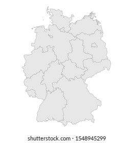 Germany provinces map with boundaries vector illustration. Light gray color.