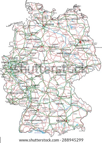 Germany Road Highway Map Vector Illustration Stock Vector (Royalty ...