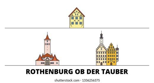 Germany, Rothenburg Ob Der Tauber flat landmarks vector illustration. Germany, Rothenburg Ob Der Tauber line city with famous travel sights, skyline, design.