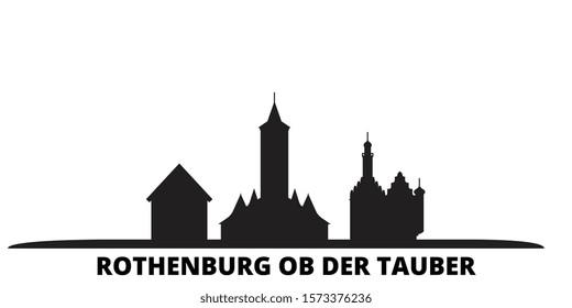 Germany, Rothenburg Ob Der Tauber city skyline isolated vector illustration. Germany, Rothenburg Ob Der Tauber travel black cityscape
