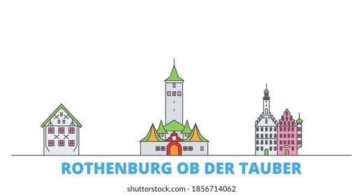 Germany, Rothenburg Ob Der Tauber line cityscape, flat vector. Travel city landmark, oultine illustration, line world icons