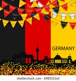 Germany Skyline Silhouette Architecture Buildings. Flags, Buntings in National Colors.Vector Illustration