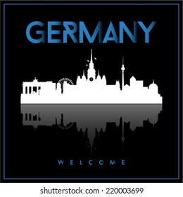 Germany, skyline silhouette vector design on parliament blue and black background.
