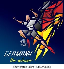Germany Soccer Player, German Poly Art Polygon Football Player and Flag (Vector Art)