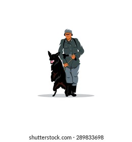 Germany soldier with dog sign. Vector Illustration. Branding Identity Corporate logo design template Isolated on a white background