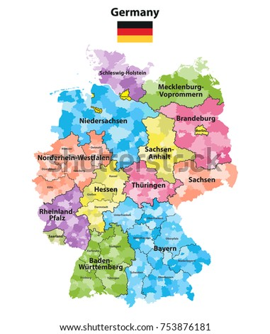 Map Of Germany With States.Germany States Districts Colored Vector Map Stock Vector Royalty