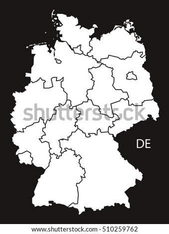 Map Of Germany With States.Germany States Map Black White Stock Vector Royalty Free 510259762
