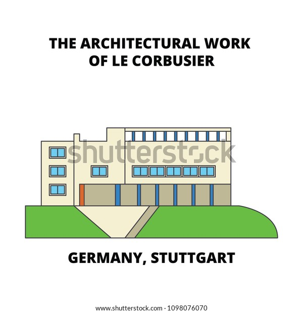 Germany Stuttgart Architectural Work Le Corbusier Stock Vector Royalty Free 1098076070