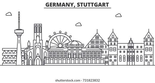 Germany, Stuttgart architecture line skyline illustration. Linear vector cityscape with famous landmarks, city sights, design icons. Landscape wtih editable strokes