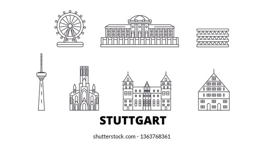 Germany, Stuttgart line travel skyline set. Germany, Stuttgart outline city vector illustration, symbol, travel sights, landmarks.