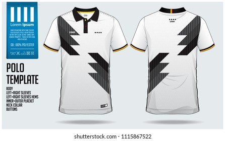 Germany Team Polo t-shirt sport template design for soccer jersey, football kit or sportwear. Classic collar sport uniform in front view and back view. T-shirt mock up for sport club. Vector