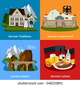 Germany travel flat concept with cultural traditions food architectural buildings beautiful landscapes vector illustration