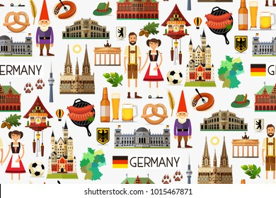 Germany Travel Seamless Pattern. Map of Germany and Travel Icons. Vector Illustration.