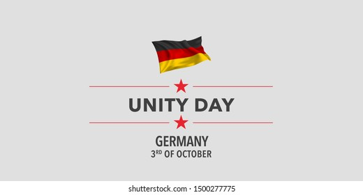 Germany unity day greeting card, banner, vector illustration. German holiday 1st of October design element with waving flag as a symbol of independence