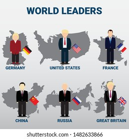 Germany, USA, France, China, Russia, UK - 2019 - World Leaders with national flags in front of state maps