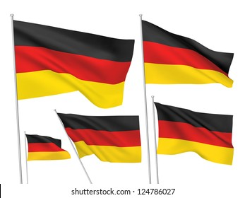 Germany vector flags set. 5 wavy 3D cloth pennants fluttering on the wind. EPS 8 created using gradient meshes isolated on white background. Five fabric flagstaff design elements from world collection
