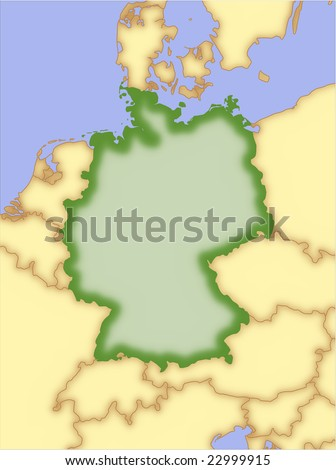 Map Of Countries Surrounding Germany.Germany Vector Map Borders Surrounding Countries Stock Vector