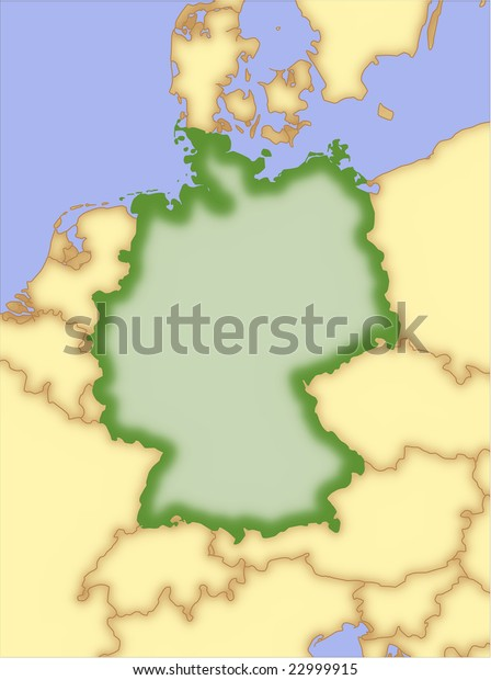 Map Of Countries Near Germany.Germany Vector Map Borders Surrounding Countries Stock Vector