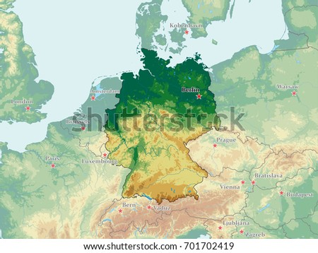 Germany Vector Physical Map Stock Vector Royalty Free 701702419