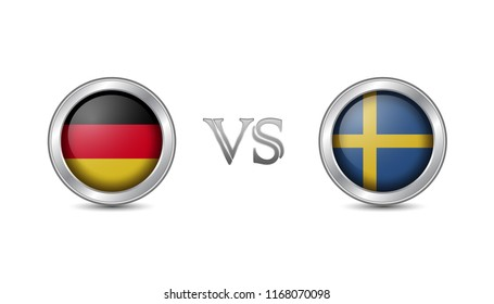 Germany vs sweden flag concept in metal circle badges for international championship football competition