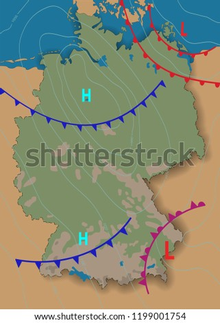 Weather Map Of Germany.Germany Weather Map Germany Meteorological Forecast Stock Vector