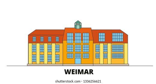 Germany, Weimar,Bauhaus flat landmarks vector illustration. Germany, Weimar,Bauhaus line city with famous travel sights, skyline, design.