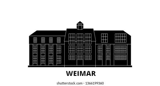Germany, Weimar,Bauhaus flat travel skyline set. Germany, Weimar,Bauhaus black city vector illustration, symbol, travel sights, landmarks.