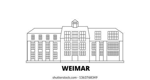 Germany, Weimar,Bauhaus line travel skyline set. Germany, Weimar,Bauhaus outline city vector illustration, symbol, travel sights, landmarks.
