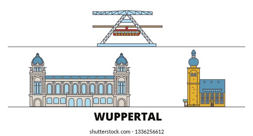 Germany, Wuppertal flat landmarks vector illustration. Germany, Wuppertal line city with famous travel sights, skyline, design.