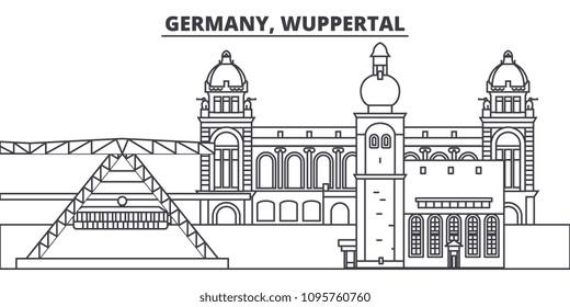 Germany, Wuppertal line skyline vector illustration. Germany, Wuppertal linear cityscape with famous landmarks, city sights, vector landscape.